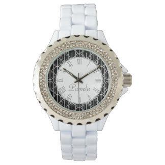 Oval linked patterned mono black white named watch