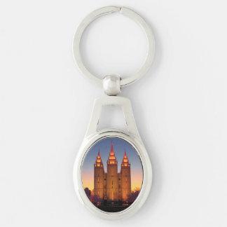 Oval Metal Keychain Salt Lake temple at dusk