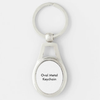 Oval Metal Keychain Silver-Colored Oval Key Ring