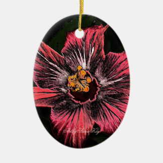 Oval Ornament .Hibiscus .