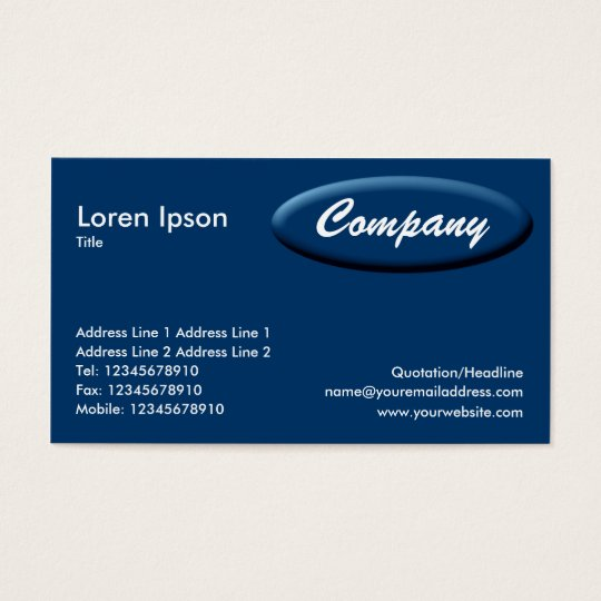 Oval Panel - Blue Business Card