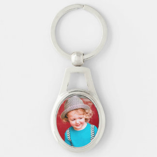 Oval Photo Keychain Silver-Colored Oval Key Ring