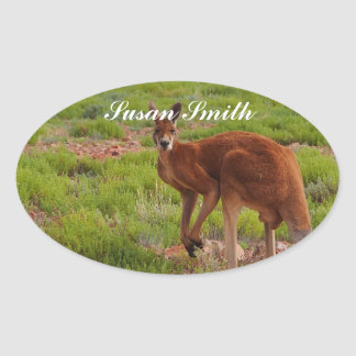 Oval photo sticker with name - red kangaroo