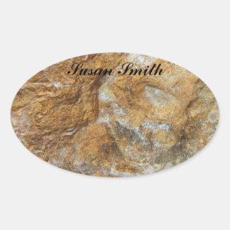 Oval photo sticker with name - Rocky background