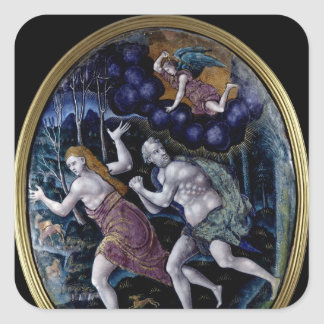 Oval plaque depicting Adam and Eve Square Sticker