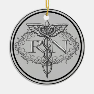 Oval Silver Caduceus RN Nurse Ceramic Ornament
