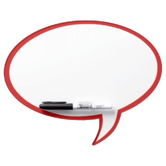 Oval Speech Bubble Wall Decor in Red Dry Erase Board