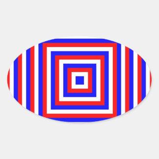 OVAL STICKER - RED WHITE BLUE