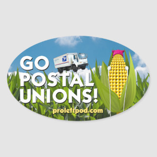 Oval Stickers (4/pg) - Go Postal Unions!