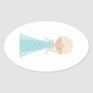 Oval Stickers w/ Animated Elsa from Frozen