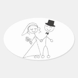Oval Wedding Favor Seals Cute Bride & Groom Oval Sticker