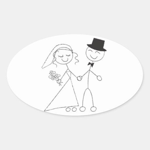 Oval Wedding Favor Seals Cute Bride & Groom Oval Stickers