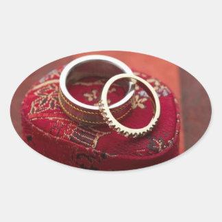 Oval Wedding Favor Seals Wedding Rings Storage Box Oval Sticker