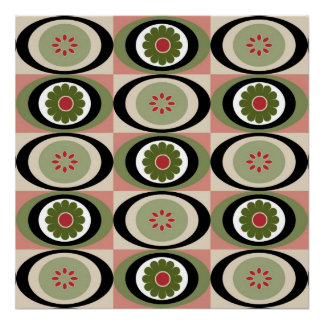 Ovals with Flowers Posters