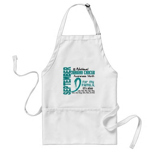 Ovarian Cancer Awareness Month For My Family Aprons