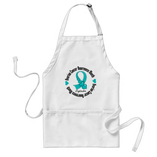 Ovarian Cancer Awareness Month Ribbon of Hearts Apron