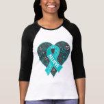 Ovarian Cancer Believe Ribbon Heart Tee Shirt