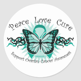 Ovarian Cancer Butterfly Tribal Round Sticker