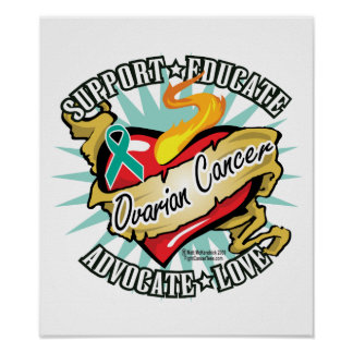 Ovarian Cancer Classic Heart Poster