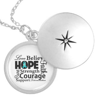 Ovarian Cancer Collage of Hope Round Locket Necklace