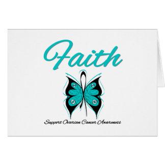 Ovarian Cancer Faith Butterfly Ribbon Greeting Card