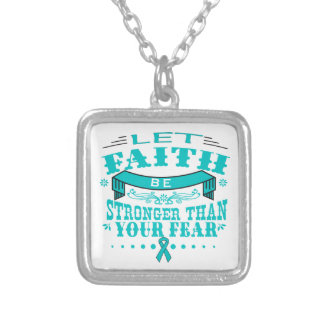 Ovarian Cancer Faith Stronger than Fear.png Square Pendant Necklace