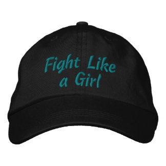 Ovarian Cancer Fight Like a Girl Embroidered Baseball Cap