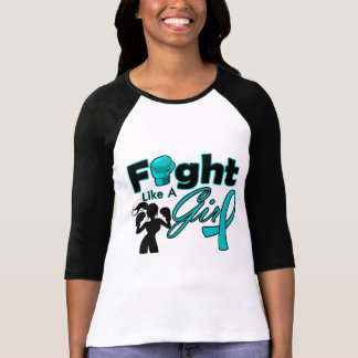 Ovarian Cancer Fight Like A Girl Silhouette Shirts