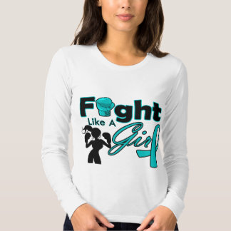 Ovarian Cancer Fight Like A Girl Silhouette T-shirt