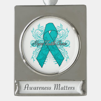 Ovarian Cancer Flourish Hope Faith Cure Silver Plated Banner Ornament
