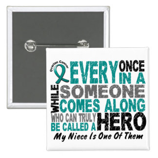Ovarian Cancer Hero Comes Along NIECE 15 Cm Square Badge