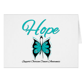Ovarian Cancer Hope Butterfly Ribbon Greeting Card
