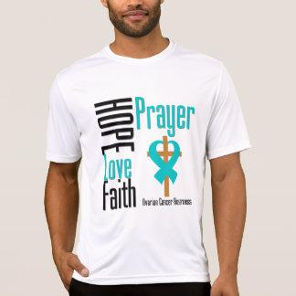 Ovarian Cancer Hope Love Faith Prayer Cross Tee Shirts