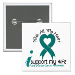 Ovarian Cancer I Support My Wife 15 Cm Square Badge