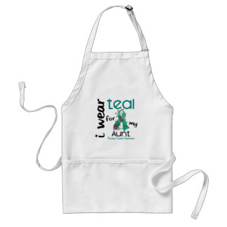 Ovarian Cancer I WEAR TEAL FOR MY AUNT 43 Adult Apron