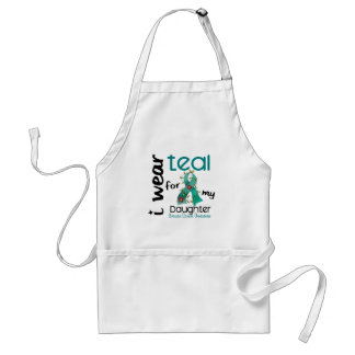 Ovarian Cancer I WEAR TEAL FOR MY DAUGHTER 43 Adult Apron