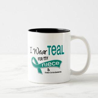Ovarian Cancer I WEAR TEAL FOR MY NIECE 42 Two-Tone Mug
