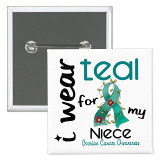 Ovarian Cancer I WEAR TEAL FOR MY NIECE 43 15 Cm Square Badge