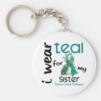 Ovarian Cancer I WEAR TEAL FOR MY SISTER 43 Basic Round Button Key Ring