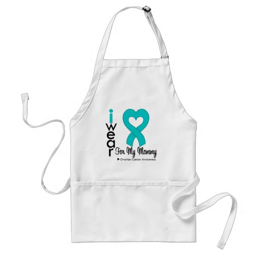 Ovarian Cancer I Wear Teal Heart For My Mommy Aprons