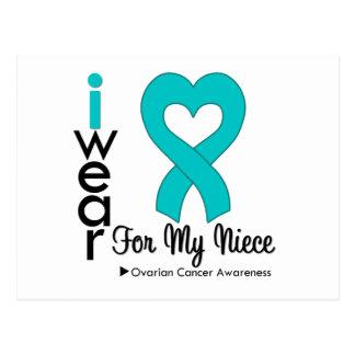 Ovarian Cancer I Wear Teal Heart For My Niece Postcard