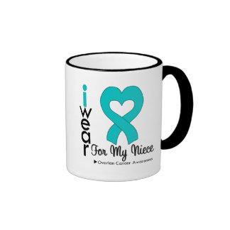 Ovarian Cancer I Wear Teal Heart For My Niece Ringer Mug