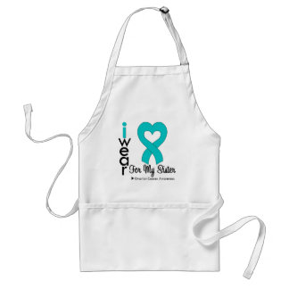 Ovarian Cancer I Wear Teal Heart For My Sister Adult Apron
