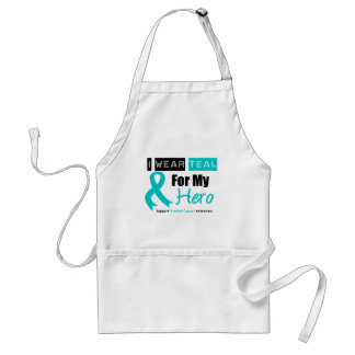 Ovarian Cancer I Wear Teal Ribbon For My Hero Standard Apron