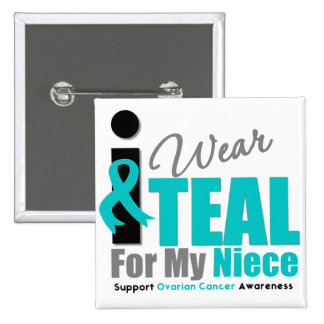 Ovarian Cancer I Wear Teal Ribbon Niece 15 Cm Square Badge