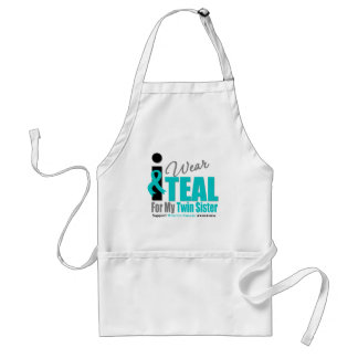 Ovarian Cancer I Wear Teal Ribbon Twin Sister Adult Apron