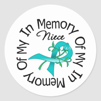 Ovarian Cancer In Memory of My Niece Round Stickers