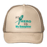 Ovarian Cancer My Hero is My Daughter Teal Ribbon Trucker Hat
