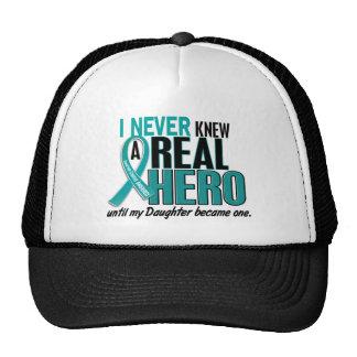 Ovarian Cancer NEVER KNEW A HERO 2 Daughter Cap