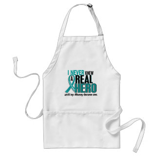 Ovarian Cancer NEVER KNEW A HERO 2 Mommy Standard Apron